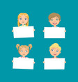 cute children holding empty blank boards set vector image vector image