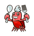 cute crab holding a fork and a spoon seafood vector image vector image