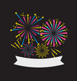 firework night celebration event with ribbon vector image vector image