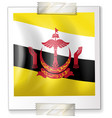 flag of brunei on square paper vector image vector image