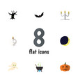 flat icon halloween set of ghost magic cranium vector image vector image