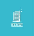 Flat real estate blue building logo vector image vector image