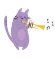 funny cat playing trumpet vector image vector image