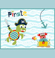 funny pirate cartoon underwater vector image