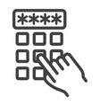 hand finger entering pin code line icon unlock vector image vector image