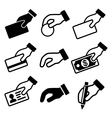 Hand with different objects icons set vector image vector image