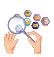 hands with magnifying glass and social media set vector image