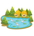 houses with ducks on white background vector image vector image
