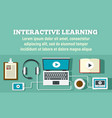 interactive learning concept banner flat style vector image vector image