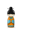 japanese doll sketch for your design vector image vector image