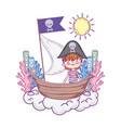 little pirate with boat in clouds vector image vector image