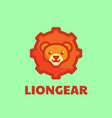 logo lion gear simple mascot style vector image vector image