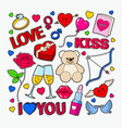 love and romance doodle with red lips hearts vector image
