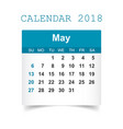 may 2018 calendar calendar sticker design vector image vector image