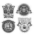medieval nordic viking emblems set vector image