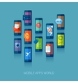 Mobile apps universe flat icons concept vector image
