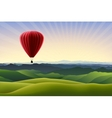 Mountain landscape with red air balloon vector image vector image