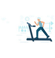 old man running on motorized treadmill sportive vector image vector image
