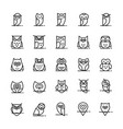 owl icons collection in line style vector image vector image