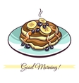 Pancakes With Syrup Bananas Blueberries vector image