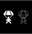 parachute jumper icon set white color flat style vector image