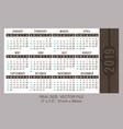 pocket calendar 2019 start on sunday vector image vector image