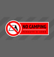 prohibition sign no camping trendy label ready vector image vector image