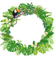 round frame with tropical plants and toucan vector image vector image
