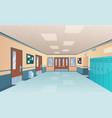 school corridor bright college interior big vector image vector image