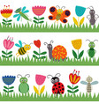 set isolated borders with funny insect vector image vector image