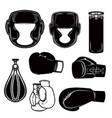 set of boxing design elements boxer helmet gloves vector image