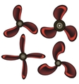 Set of Red Propeller Icons vector image