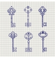Set of sketch ornamental keys vector image vector image