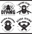 set scuba diving club and diving school badges vector image