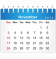 Stylish calendar page for November 2013 vector image