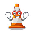 super hero traffic cone on made in cartoon vector image vector image