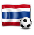 The flag of Thailand beside a soccer ball vector image