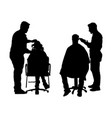 unisex hairdresser with clients silhouette beauty