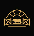 vintage angus cattle farm logo vector image vector image