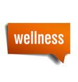 wellness orange 3d speech bubble vector image vector image