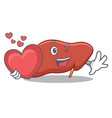 with heart liver mascot cartoon style vector image vector image