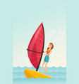 young caucasian woman windsurfing in the sea vector image vector image