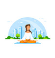 young woman in lotus pose pratices meditation vector image