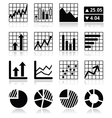 Stock market analysis chart and graph icons set vector image