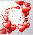 3d heart balloon confetti realistic frame vector image