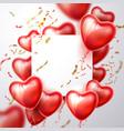 3d heart balloon confetti realistic frame vector image vector image