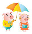 a couple of pigs and a date under an umbrella vector image