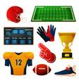 american football equipment set flat icons vector image