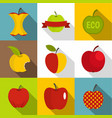 apple icons set flat style vector image vector image