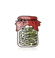 Bank of pickled cucumber sketch for your design vector image